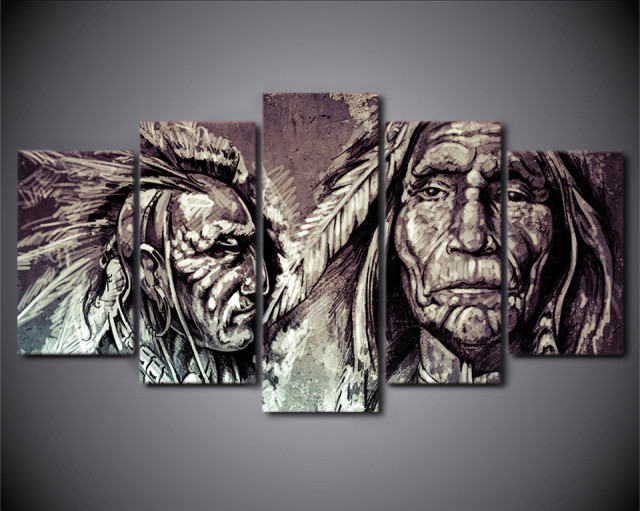 Hd print 5 piece canvas art american indian art art prints and wall art native american