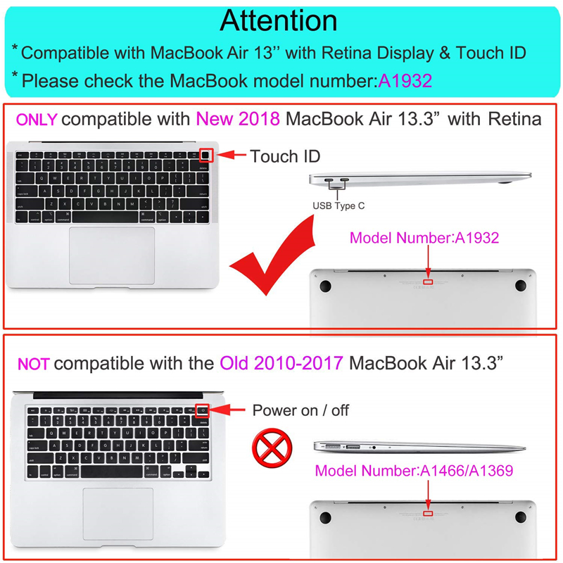 Image 5 - MOSISO Crystal/Matte Case For Macbook Air 13 inch Laptop Sleeve Cover Case For 2018 New Mac Air 13 With Touch ID+Keyboard Cover-in Laptop Bags & Cases from Computer & Office