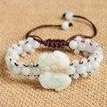 New Ethnic Handmade Weave String 100% Natural Jade A Pair of PIXIU Bracelet