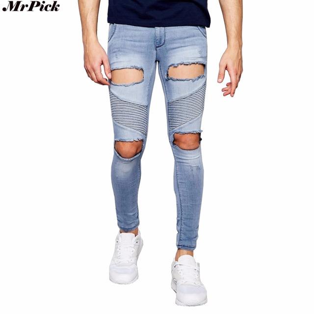 Extrema Rips Agujero Stretch Jeans Hombres Diseñador de Moda Marca Delgado Flaco Apenada Ripped Denim Jeans Motorista T0268