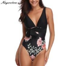 Sexy 2019 new one piece swimsuits women push-up swimwear Top pure bottom print monokini bodysuit Halter retro beach bathing suit