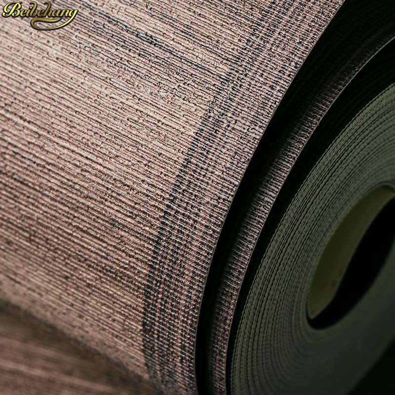 Beibehang moderne Vintage 3D plancher papier peint bois rayures Club étude chambre solide Mural papier peint brun Beige revêtement Mural