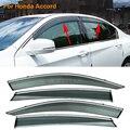 Stylingg toldos abrigos 4 pçs/lote viseiras da janela do carro para honda accord 2008-2016 sol chuva escudo adesivos covers