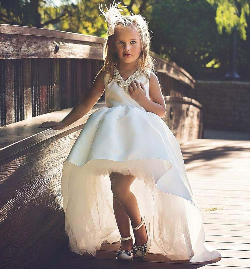 Gorgeous White flower girl dress with long tail high low V-neck crystals rhinestones kid pageant party outfit baby birthday gown ball gown sky blue open back with long train ruffles tiered crystals flower girl dress party birthday evening party pageant gown