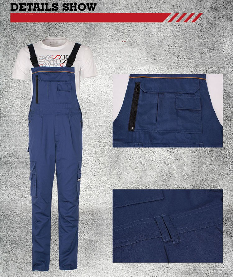 Men bib overall work coveralls fashion vintage locomotive repairman strap jumpsuit pants work uniform summer sleeveless overalls (4)