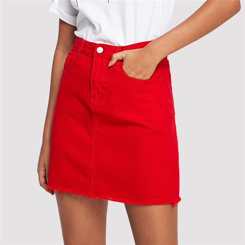 COLROVIE Frayed Hem Pockets Denim Skirt Spring Red Ripped Mid Waist Girly Casual Mini Skirt Summer A Line Basic Women Skirt 11