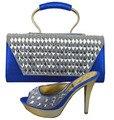 De alta Calidad de La Señora Sandalia Tacones Altos Zapatos Y Bolso Con piedras Para El Partido de Tarde Zapatos Italianos A Juego Con Bolsa de Conjunto 1308-34