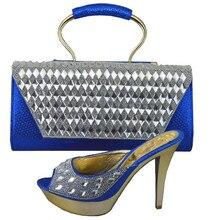 Hohe Qualität Dame Sandale High Heels Schuhe Und Tasche Mit steinen Für Abend-partei Italienische Schuhe Mit Passender Tasche Set 1308-34