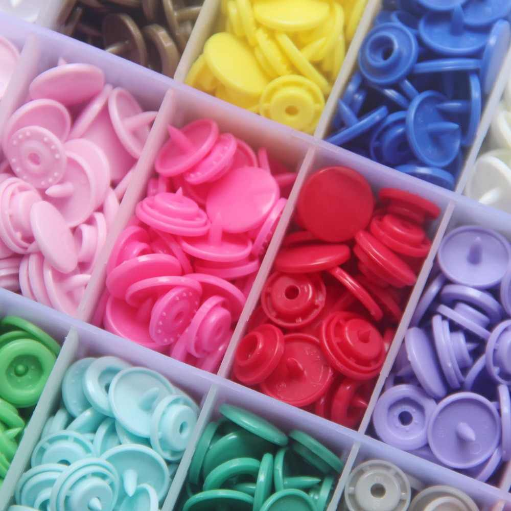 50 Sets KAM Snaps, Size 20 T5 Resin Plastic Fasteners Punch Poppers Closures No-Sew Buttons for Cloth Diaper/Bibs/Unpaper Towels