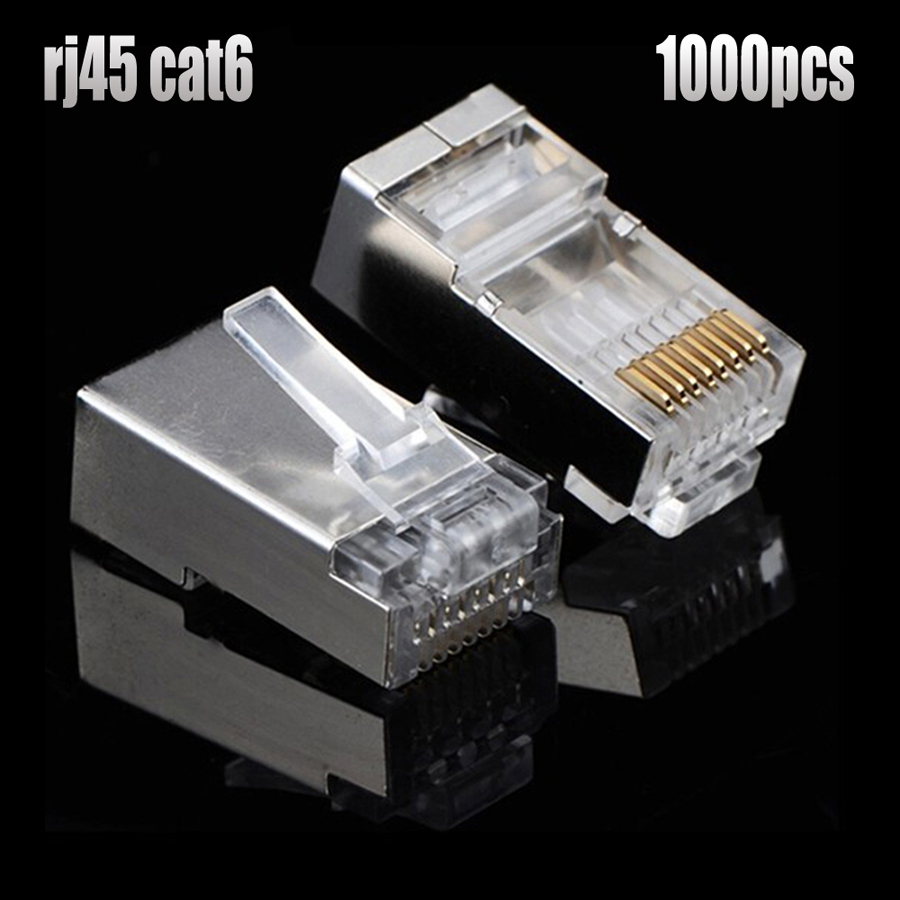 xintylink 1000pcs rj45 connector rj45 plug cat6 metal shielded gold plated terminals stp ethernet network connector