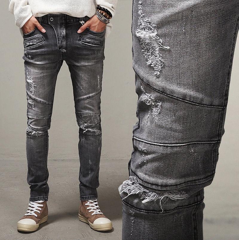 2016 Famous Paris Catwalk Shows Stretch Gray Men Jeans Washed Retro Slim Biker Jeans Balmai Jeans