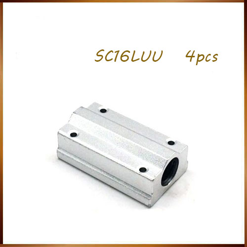 cnc parts c16luu 4pcs SC16LUU SCS16LUU Linear motion ball bearings slide block bushing for 16mm linear shaft guide rail CNC axk sc8uu scs8uu slide unit block bearing steel linear motion ball bearing slide bushing shaft cnc router diy 3d printer parts