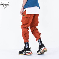 Aelfric Eden Casual Cargo Pants Men Brand Clothing Feet Sweatpants Male Stretch Pockets Hip Hop Orange