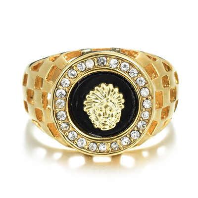2019 Новая мода кольцо с головой льва человек Для женщин хип-хоп розовое золото серебристый картина маслом Кристалл Кольца для Для мужчин Панк животных Jewelry R114