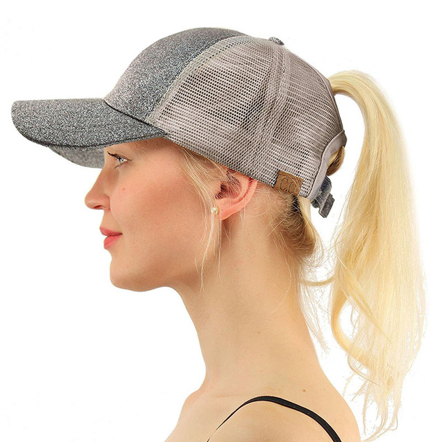 821fc770e20 2018 Summer CC Glitter Ponytail Baseball Cap Dad Hats for Women Hip Hop Caps  Messy Bun Cotton Sports Mesh Trucker Hat