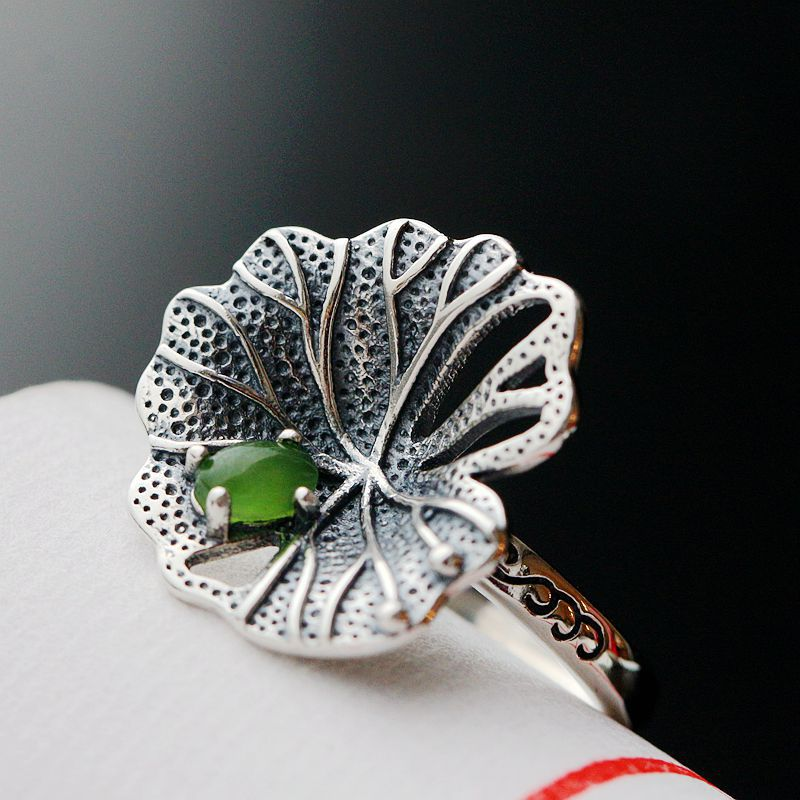 925sterling silver jewelry wholesale is hollow-out lotus leaves 925 silver ring opening a successful career asymmetric plus size off shoulder tunic top
