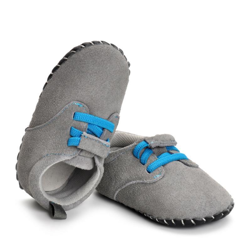 Boys Grey Shoes Nubuck Leather Girl Footwear Soft Sole First Walkers Anti-slip for Newborn Winter Warm