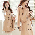 New Women's Trench Coat Spring 2017 Fashion Elegant All-match Two-piece Sets Long-sleeve Double-breasted Slim Trench Coat Female