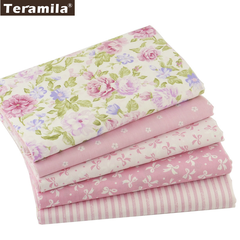 Teramila Cotton Fabric 5 pcs 40cm*50cm Pink For Sewing Fat Quarter Quilting Patchwork Tissue Tilda Doll Cloth Kids Bedding