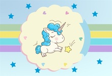 Laeacco Cartoon Unicorn Party Stripes Baby Birthday Photography Backgrounds Customized Photographic Backdrops For Photo Studio
