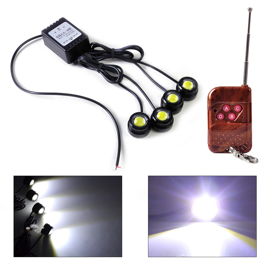 Beler New 4in1 12v Eagle Eye Hawkeye Led Strobe Lights Lamp Drl Wireless Remote Control For Vw Polo Audi A4 Nissan Toyota Honda In Car Light Embly From