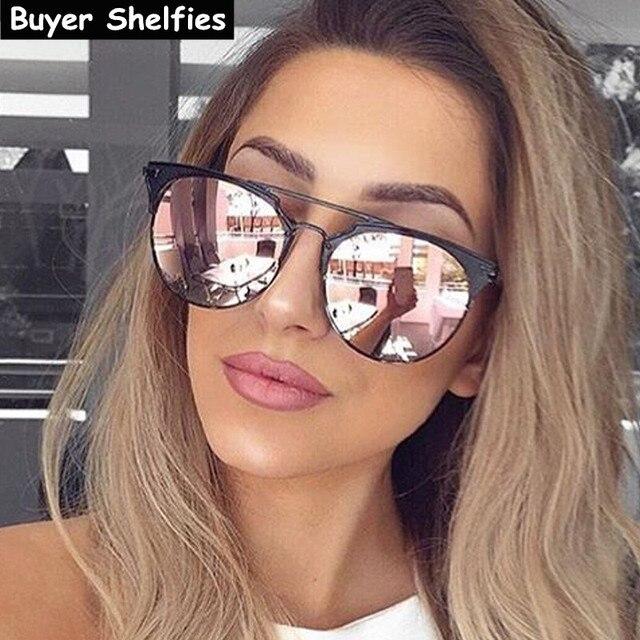 Womens Mirrored Aviator Sunglasses