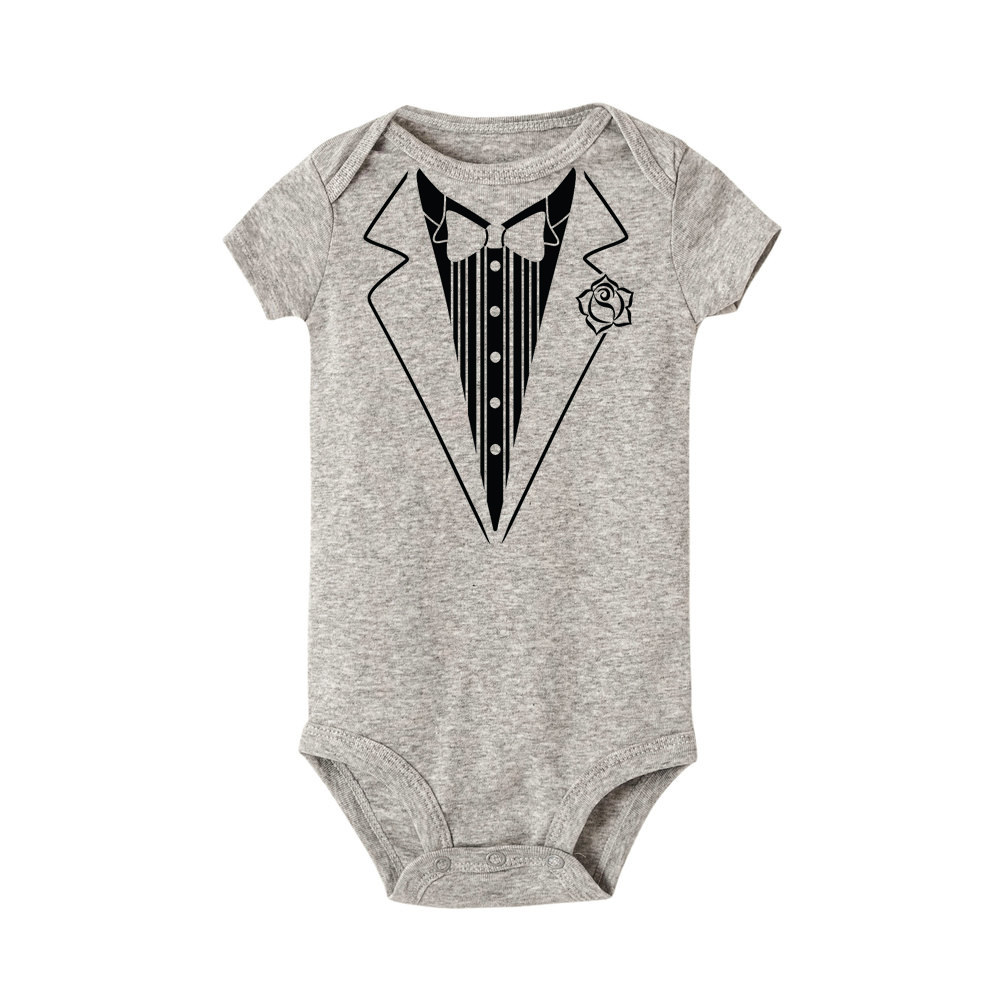 b725bf216 Tuxedo Suit Gentleman Costume Design Baby Bodysuit Newborn Baby Girls Cute  bodysuit Funny Short Sleeve Jumpsuit Roupa De Bebe