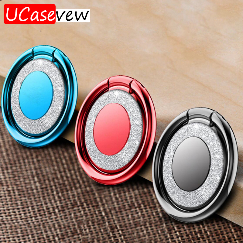 Mobile Finger Ring Holder for iPhone X Samsung Case Cover Mobile Phone Stand Accessories Shining Metal Ring Holders