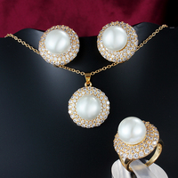 Big simulated pearl Pendant jewellery set for women beautiful design fashion accessories set with shinning zircon ALW1737