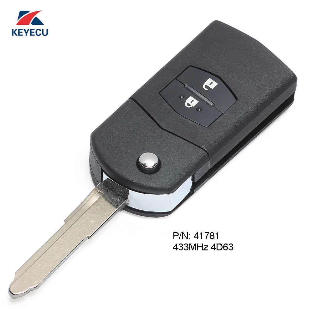 KEYECU remplacement Flip télécommande voiture clé Fob 2 bouton 433 MHz 4D63 pour Mazda 3 BK série 2006-2009, BT50 2006 Visteon 41781
