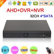 32CH 32 Channels 4 SATA 1080P/1080N/960P/720P/960H Three in One Hybrid NVR AHD DVR Surveillance Video Recorder Free Shipping