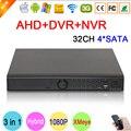 32ch 32 canais 4 sata 1080 p/1080n/960 p/720 p/960 h três em um híbrido nvr ahd dvr vigilância video recorder frete grátis