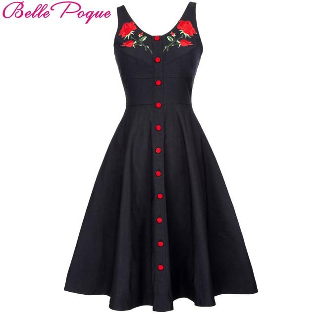 Party Vintage Kleid Sleeveless Belle Schwarze Taste Midi Lässige Sexy Kleider V Floral Stieg Poque Bestickte Club Ausschnitt Tank P0wOk8nX