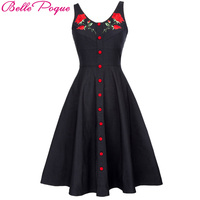 Belle Poque Vintage Dresses Sexy Sleeveless Floral V Neck Black Button Embroidered Rose Dress Club Party