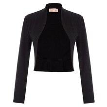 BP Women Coat Vintage Long Sleeve Open Front lady jacket Ruffled Hem Cotton Bolero Shrug open front knot hem blouse
