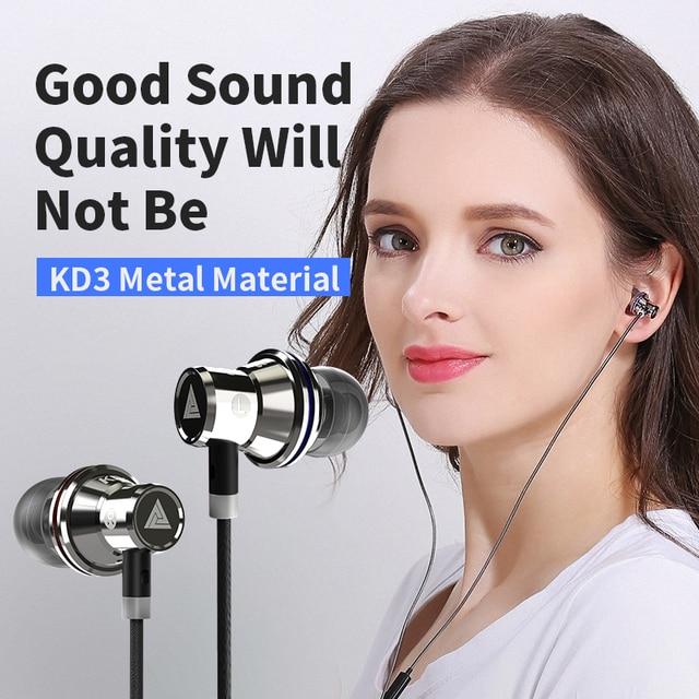 العلامة التجارية الأصلية سماعات QKZ KD3 سماعة عزل الضوضاء في سماعة الأذن سماعة رأس مزودة بميكروفون للهاتف المحمول العالمي ل MP4