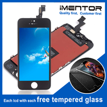 10pcs עבור AAA iphone 5S lcd תצוגת מסך מגע pantalla משלוח מזג זכוכית 10pcs