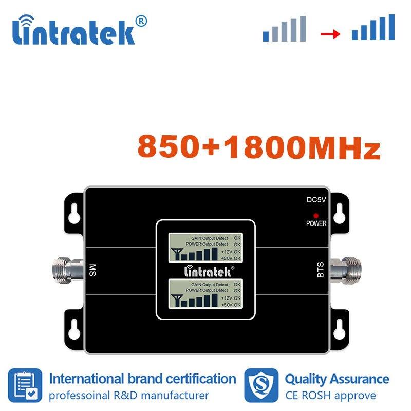 Lintratek 4G 850MHz 1800 DCS CDMA amplificateur cellulaire double bande 1800 téléphone portable 850 amplificateur répéteur de Signal s8