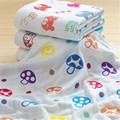 100% Cotton Gauze Baby Towel Muslin Baby Wipes Kinderkleding Meisjes Towels Child Cartoon 6 Layers Gauze Towel Newborn 50A016