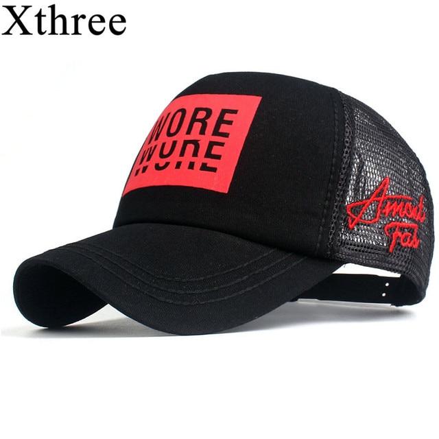 698d9e10fb00f US $6.38 45% OFF|Xthree New Men's Baseball Cap Print Summer Mesh Cap Hats  For Men Women Snapback Gorras Hombre hats Casual Hip Hop Caps Dad Hat-in ...