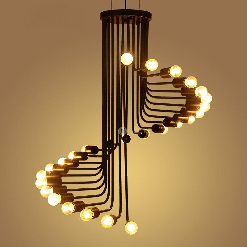 loft americano retro industrial espiral escalera colgante de luz saln cafe restaurant bar tie hierro lmpara de techo