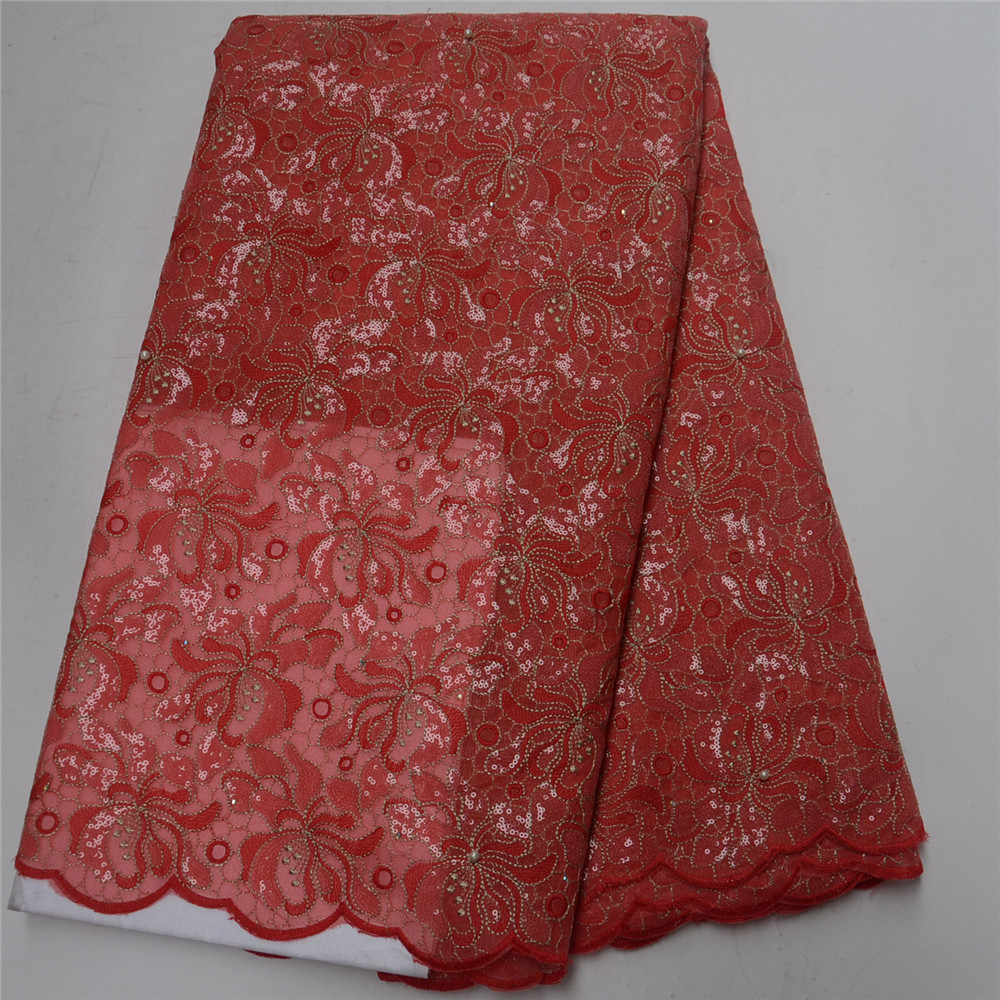 red African Handcut organza lace fabric with Lots of sequins and bead For Nigerian Wedding dresses High qualityred African Handcut organza lace fabric with Lots of sequins and bead For Nigerian Wedding dresses High quality