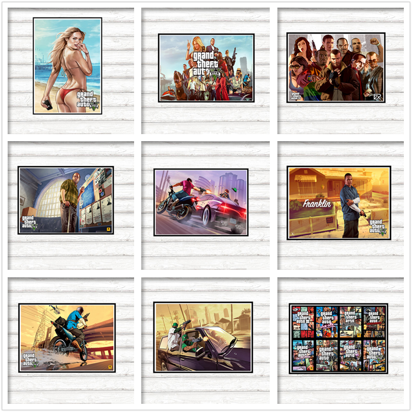 GTA 5 Grand Theft Auto San Andreas Gaming coated paper poster Mural de Pared Pegatinas Decoracion Del Hogar ...