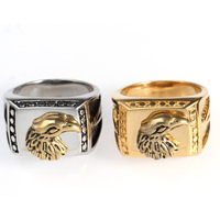 China New Design Luxury Plated Eagle Dragon Head Finger Ring For Men