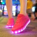 2016 Moda Cesta Sapatos Levaram para Adultos Mulheres Luminous Light Up Casual Sapatos Chaussure de Incandescência Led Femme Zapatos Mujer