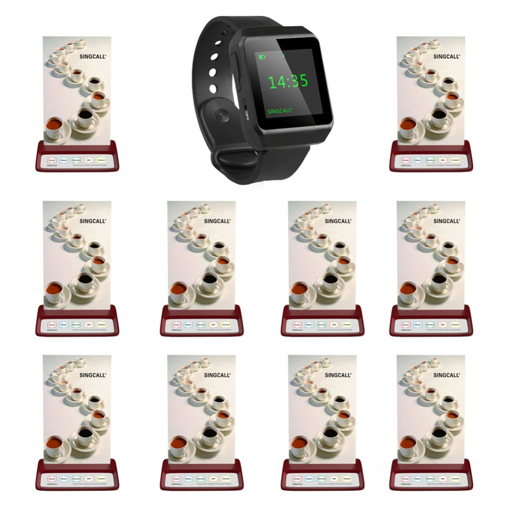 SINGCALL wireless restaurant calling system, beeper pager,1 mobile watch receiver plus 10 red table pagers wireless service call bell system popular in restaurant ce passed 433 92mhz full equipment watch pager 1 watch 7 call button
