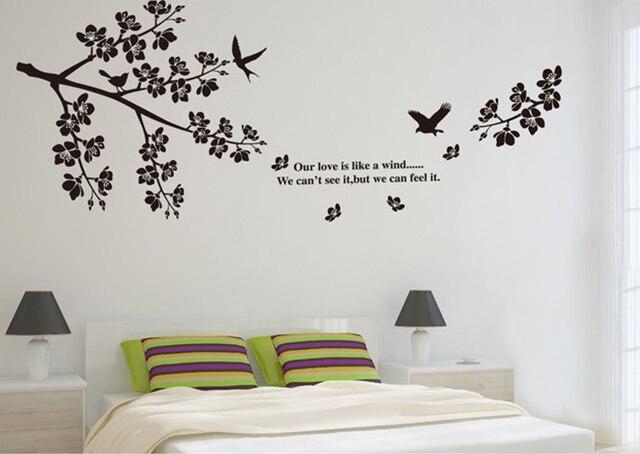 Diy Met Takken : Zwarte takken vogels grote muurstickers bloemen decals home decor