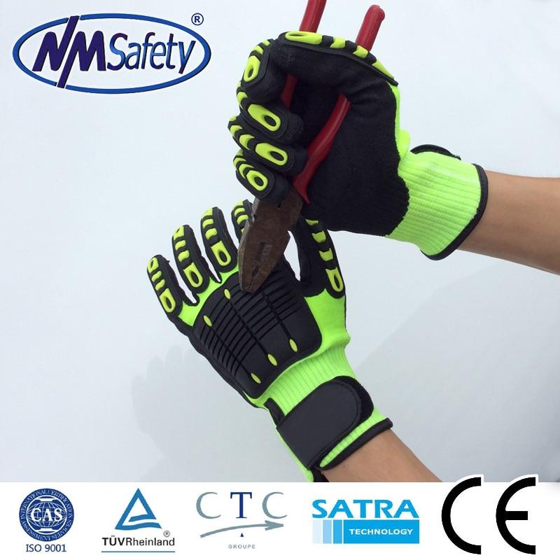 NMSafety 13 gauge nylon liner coated nitril safety gloves sandy finish cut 5 gloves anti slip anti shock glove