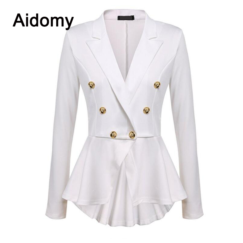 Casual Ladies Jackets Long Sleeve Ruffles Peplum Tops 2019 Womens Jackets Front Buttons Office Work Wear Women Coats Black White Invigorating Blood Circulation And Stopping Pains Women's Clothing