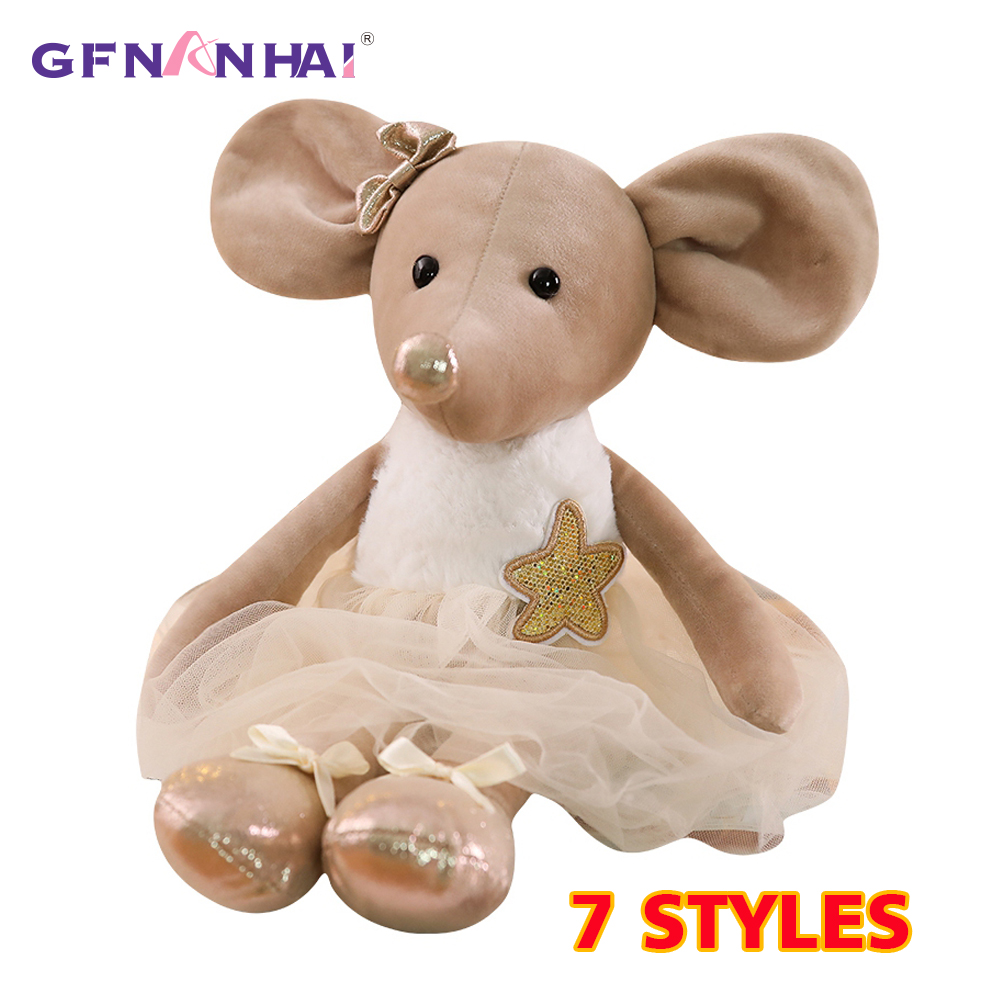 1pc 42CM Cute Ballet Mouse Plush Toys Lovely Dressing Cloth Animal Mouse Dolls Stuffed Soft Baby Finger Toys Birthday Gifts